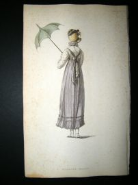 Ackermann 1814 Hand Col Regency Fashion Print. Walking Dress 12-29